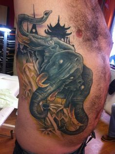 50 Best Elephant Tattoo Designs and Ideas - Beste Tattoo Ideen Elephant Tattoo On Hand, Little Elephant Tattoos, Tribal Elephant, Elephant Tattoo Design, Calf Tattoo, Leg Tattoos, Tattoos For Guys, Cool Tattoos, Chest Tattoo Images