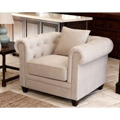 ABBYSON LIVING Fulton Beige Velvet Fabric Tufted Armchair - Overstock Shopping - Great Deals on Abbyson Living Living Room Chairs