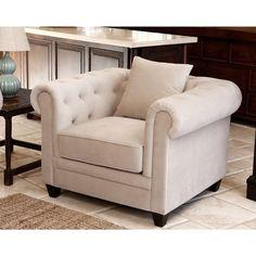 ABBYSON LIVING Fulton Beige Velvet Fabric Tufted Armchair - Overstock Shopping - Great Deals on Abbyson Living Living Room Chairs