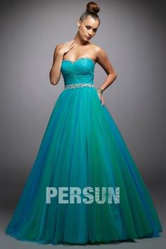 Sweetheart Pleated Beading Green Tulle Ball Gown Prom Dress