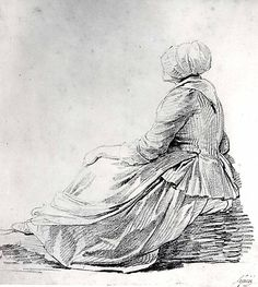 Seated Woman in Profile - 1774 - Lepicie - MET 1975.1.655  Note the cut of the short gown, stripe placement. matching petticoat. kerchief worn outside the gown, the cap design, apron length