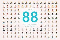 Set of 88 Profession Avatars Flat by Blogoodf on @creativemarket