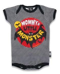 Six Bunnies Baby Onesie Mommy's Little Monster Romper Rockabilly Punk Stripes   eBay