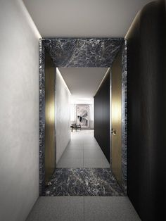 Relevé in Pyrmont, NSW 2009 by Savills Residential Projects, NSW Hotel Corridor, Marble Island, Entry Stairs, Architrave, Lobbies, Architecture, Doors, Interior Design, Mirror