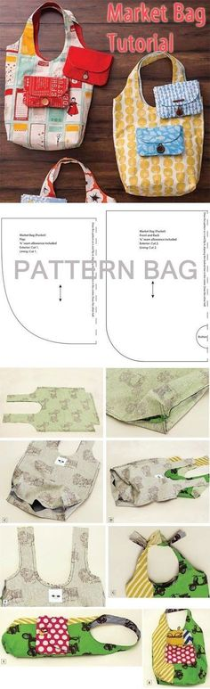 Market Bag and Pouch. DIY Tutorial Pattern... ♥ Deniz ♥...bag folds into exterior pocket for easy storage!