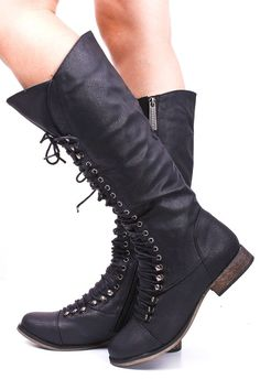 BLACK LACE UP KNEE HIGH COMBAT BOOTS