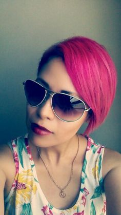 Mix Cleo Rose and Hot hot pink. Manic panic, pixie hair.