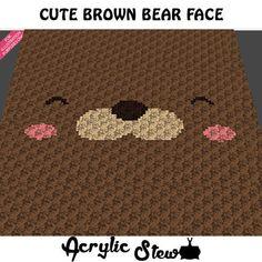 Baby Graphgan Pattern - Corner to Corner - C2C Crochet - Cute Brown Teddy Bear Face Blanket Afghan Crochet Graph Pattern Chart