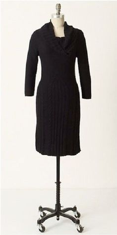 SLEEPING ON SNOW ANTHROPOLOGIE Black Lancet Arch Cowl Fall Sweater Knit Dress S #SleepingonSnow #SweaterDress #Casual