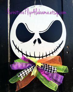 Halloween door hanger,Nightmare before Christmas wreath,Jack Skellington wreath,Skeleton door,Jack Skellington door…