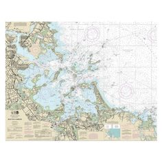 Boston Harbor Nautical Chart printed on sailcloth for home décor wall art print.