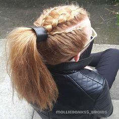 """""""Cool style on isla today i did dutchbraid on top with lacebraids up the sides into a ponytail This lovely girl is mias best friend and gave me 2 drawings of mine and mias hair that she drew yesterday was very sweet #braidedponytail #braids #braidsforgirls #instabraid #hotd #dutchbraid #lacebraid #redhead#maneaddicts #modernsalon #hairstyles #long_hair"""" Photo taken by @molliebanks5 on Instagram, pinned via the InstaPin iOS App! http://www.instapinapp.com (09/03/2015)"""