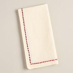 One of my favorite discoveries at WorldMarket.com: Ivory and Red Embroidered Cotton Napkins, Set of 4