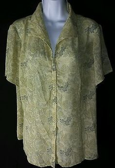 Jones New York NEW Sheer Short Sleeve Button Down Blouse Woman's Plus 16