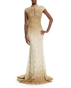 TATZX Jovani Cap-Sleeve Sequined Lace Gown