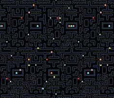 Fabric perfect for - marble maze. Mock Pacman fabric by pixeldust on Spoonflower - custom fabric Trendy Wallpaper, Tumblr Wallpaper, New Wallpaper, Black Wallpaper, Screen Wallpaper, Pattern Wallpaper, Cute Wallpapers, Wallpaper Backgrounds, Wallpapers Tumblr