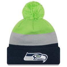 a2b03dd7307cd Men s Seattle Seahawks New Era Neon Green College Navy Triblock Cuffed Knit  Hat with Pom