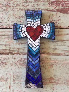 Shades of Blue Cross  Medium by DeniseMosaics on Etsy, $30.00