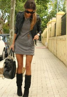 casual dress with leather jacket