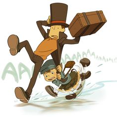 "Professor Layton and Luke having trouble crossing the frozen lake, based on one of the puzzles from ""Diabolical box"". This is just to hilarious for words, LOL! This really made my day!"