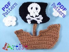 "Pirate Ship Crochet Applique Pattern ~ step-by-step instructions & detailed photos ~ easy level ~ measures approx. 5""H x 4""W ~ PURCHASED pattern - CROCHET"