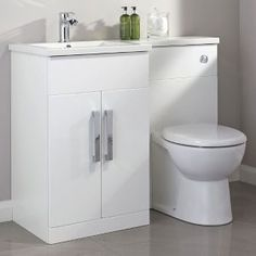 Cooke & Lewis Ardesio Gloss White LH Vanity & toilet pack - B&Q for all your home and garden supplies and advice on all the latest DIY trends Bathroom Vanity Units, Bathroom Basin, Bathroom Storage, Small Bathroom, Bathroom Ideas, Tiny Bathrooms, White Bathroom, Bathroom Inspiration, Cabinet Furniture