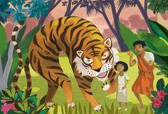 Ilustración para maqueta de libro infantil sobre relatos populares de la India.