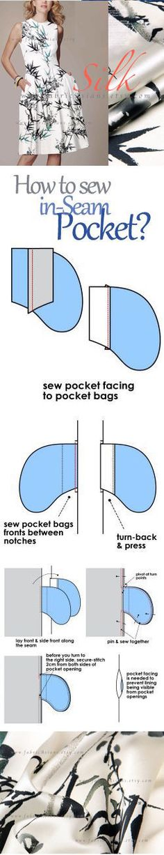how to sew in seam pocket? FREE PDF tutorial sewing pocket