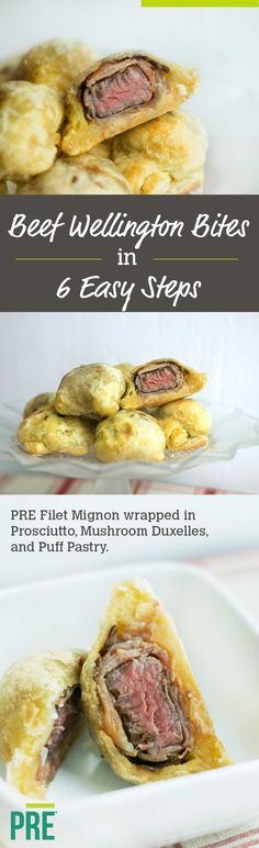 How to Make Beef Wellington Appetizers Learn how to make Beef Wellington Bites with PRE Filet Mignon, wrapped in savory prosciutto, mushroom duxelles, and buttery puff pastry! Get 9 appetizers out of one filet to easily feed the whole crowd. Finger Food Appetizers, Appetizer Recipes, Snack Recipes, Dinner Recipes, Savoury Recipes, Tapas, Beef Recipes, Cooking Recipes, Beef Meals