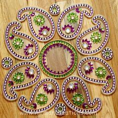 Diwali Rangoli keri in Purple by Nirman on Etsy Rangoli Designs Diwali, Diwali Rangoli, Indian Embroidery Designs, Beaded Embroidery, India Pattern, Acrylic Rangoli, White Dandelion, Diwali Craft, Indian Rangoli