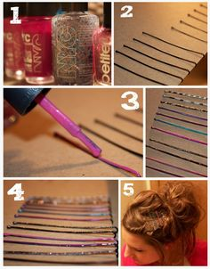 DIY Colorful bobby pins! fun craft project and supper cute!