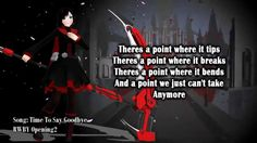Welcome back, RWBY The Volume 2 Opening ( ) will be this, epic! Now you're listening full song and the song is available to buy from iTunes (for support . Say Goodbye Lyrics, Saying Goodbye, Rwby Songs, Rwby Volume 2, Scream, Cant Take Anymore, Believe, Anime Music Videos, Soundtrack Music