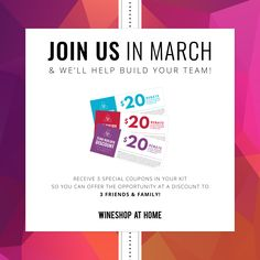 Join WineShop At Home in March and receive 3 special coupons for up to 3 friends & family! If they join within 30 days of your join date, they will receive a $20 rebate on their Premium or Starter Kit – giving you a head start in building your team! https://multibra.in/b8zk7