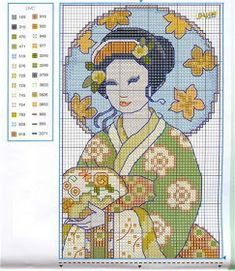 laboresdeesther Punto de cruz gratis : 3 geishas
