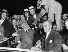 Presidential nominee Gov. Franklin Roosevelt campaigning with Chicago Governor Anton Cermak, Sept. 30, 1932. FDR is shaking the 'hoof' of a supporter costumed as the Democratic donkey. In 1933, Cermak would be fatally wounded by a assassin who was attempting to shoot President Elect Roosevelt. (CSU_ALPHA_105) CSU Archives/Everett Collection