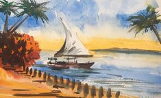 Miniature painting of a fishing boat by the beach in Zanzibar