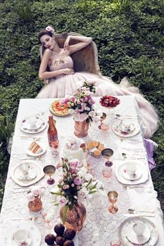 Grown up Alice in Wonderland tea party