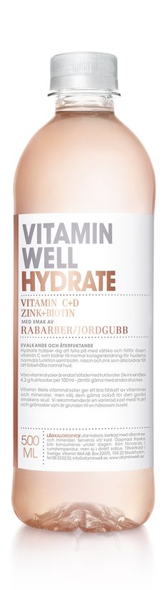 REFRESHING AND HYDRATING - WITH A TASTE OF RHUBARB/STRAWBERRY Hydrate helps you to replenish lost fluids and contains vitamin C which contributes to normal collagen formation for the normal function of bones as well as biotin, niacin and zinc all contribute to the maintenance of normal skin.