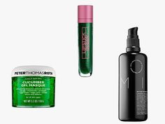 Peter Thomas Roth Cucumber Gel Masque, $52, buy it now; Lipstick Queen Frog Prince Lip Gloss, $25, buy it now; Reverie Milk Anti-Frizz Leave-in Nourishing Treatment, $42, buy it now