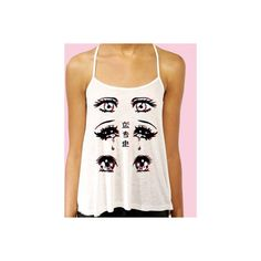 Anime Eyes Long Flowy Semi-Sheer Tank ($32) ❤ liked on Polyvore featuring tops, white racerback tank, graphic tank, white shirt, racerback tank tops and racerback tank