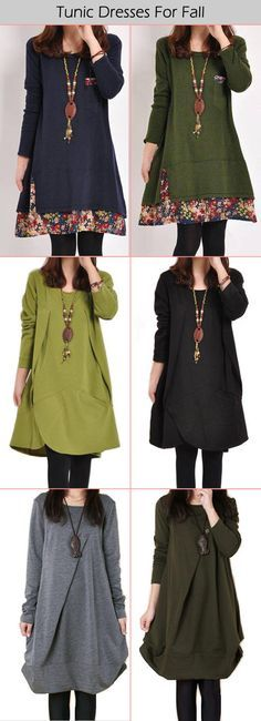 Long Sleeve Tunic Dresses For Fall & Whiter