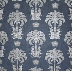 Palm Springs Raffia Wallpaper A wide width wallpaper with a raffia weave textured finish featuring silver metallic palm trees on a navy blue...