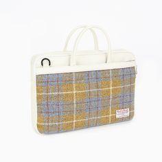 Sweetch briefcase L olive x Harris tweed