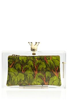 Enchanted Forest Royal Pandora Perspex Clutch by Charlotte Olympia - Moda Operandi