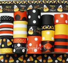 Got Candy Corn 18 Yard Grosgrain Ribbon Lot Halloween Ribbon by HairbowSuppliesEtc