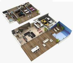diseños de interiores de casas planos - Buscar con Google