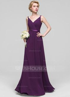 32d13a9236cd [US$ 106.69] A-Line/Princess V-neck Floor-Length. Grape Bridesmaid  DressesBridesmaid ...