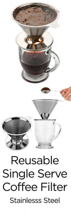 Reusable Single Serve Coffee Filter – this is the perfect one cup coffee maker!  #coffee