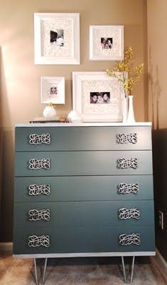 a home office needs a dresser; for serious storage with style, add interesting drawer pulls & hairpin legs