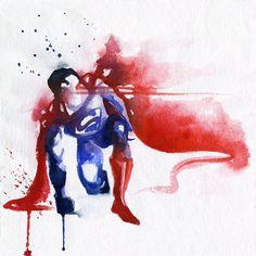 Pinturas de superhéroes con acuarelas por Blule